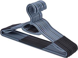 衣類ハンガー すべらない 頑丈薄く、滑り止めプラスチックのハンガー、10本入、360°回転フック (グレー)