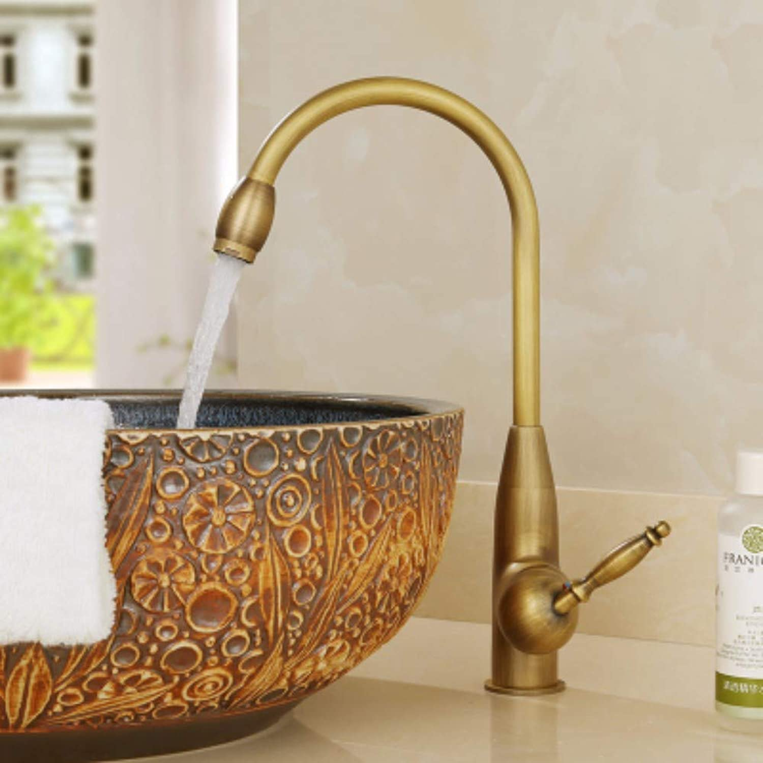 XHSSF-Bathroom taps European-Style Antique-imitating All-Copper Retro-Cold and hot taps can be redated,A