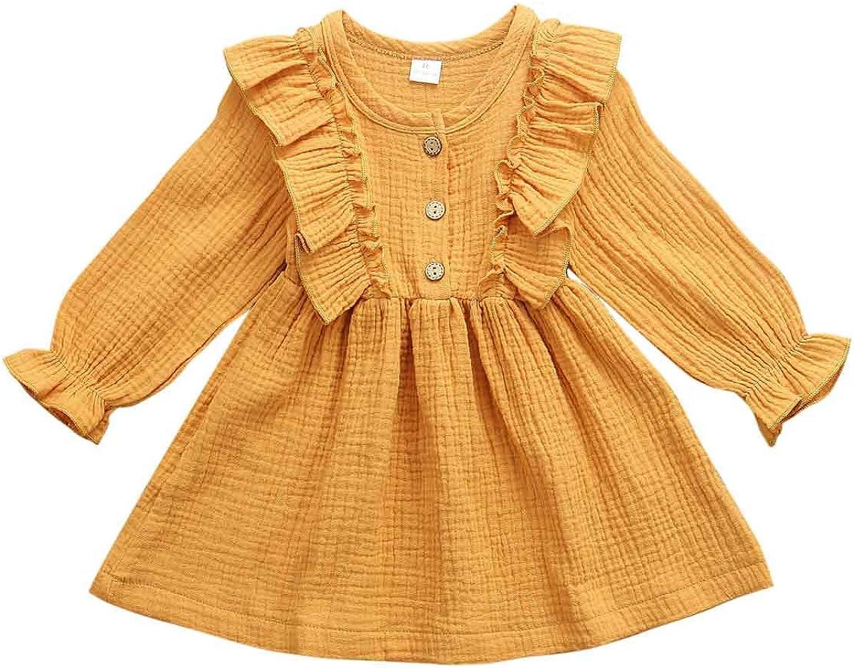 Merqwadd Toddler Baby Topics on TV Little Save money Girl Dress Pleat Cotton-Linen Solid