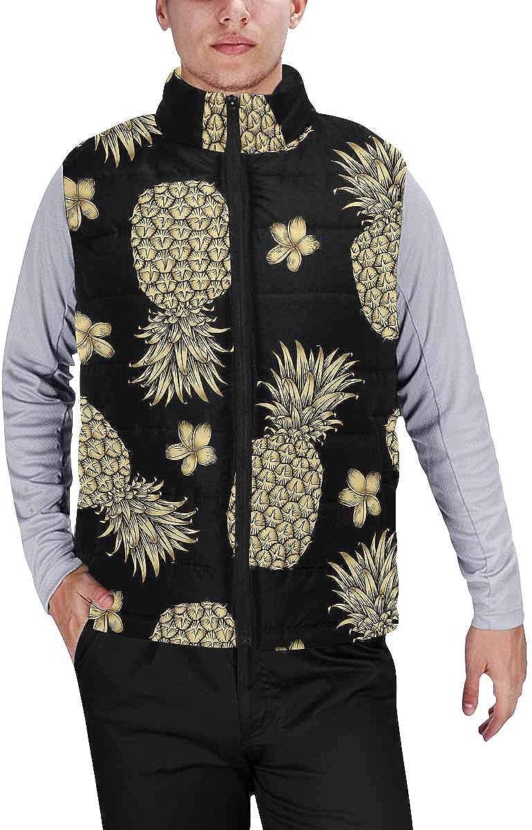 InterestPrint Men's Winter Warm Outdoor Padded Puffer Vest Gold Confetti Pattern