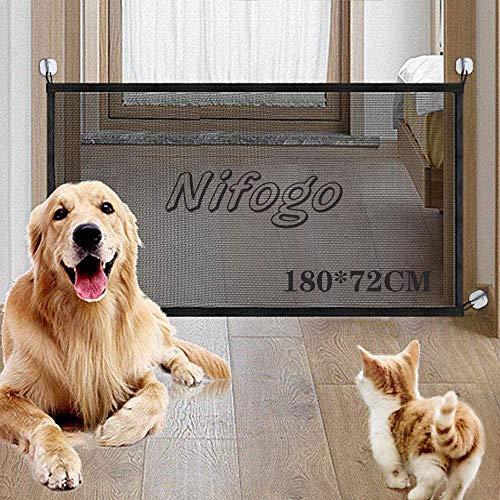 Nifogo Red mágica para Perro, Puerta de Escalera, Puerta de Coche, Barrera de Seguridad portátil Plegable, para Barrera de Perro y Red de Carga de Malla (180 * 72cm)