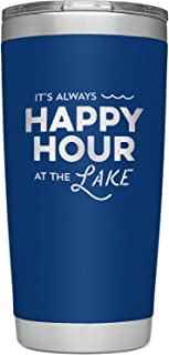 SassyCups Always Happy Hour at the Lake Tumbler Cup   20 Ounce Engraved Navy Stainless Steel Insulated Travel Mug   Lake House Decor   Lake Housewarming   Lake Lovers   Boat Owner   Lake Accessories