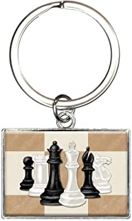 Chess Set Pieces Rectangle Keychain Key Ring