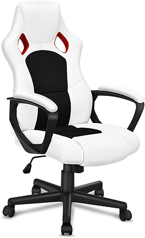 Giantex Ergonomic Gaming Chair With Sport PU Leather High Back Racing Style Office Chair Task Swivel Executive Computer Chair White Black