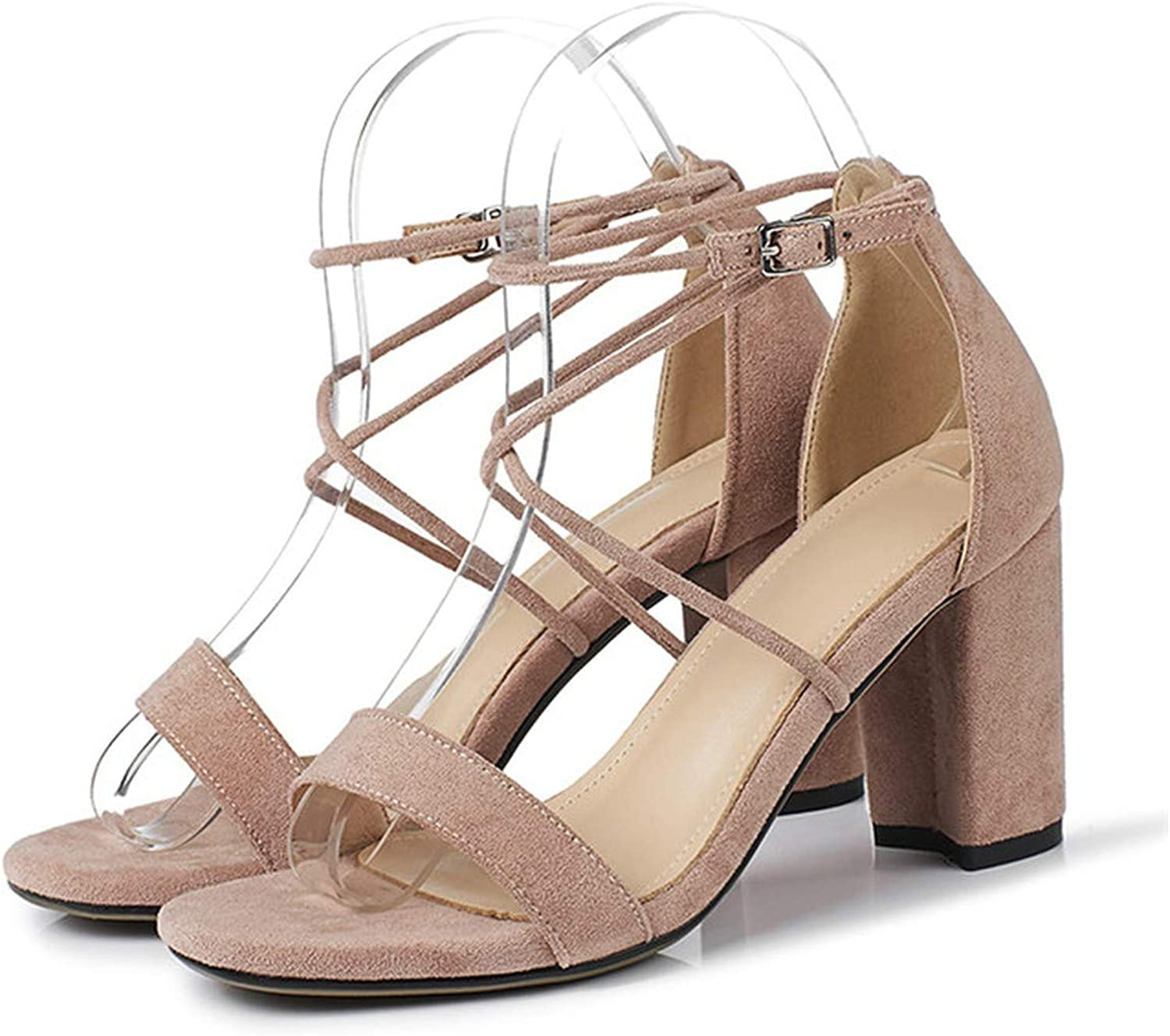 Summer Sandals Women shoes Cross-Tied Block High Heels shoes Sexy Buckle Open Toe Party Sandals,Pink,5