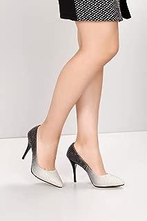 Gön Kadın Ayakkabı 95091 BEYAZA SİYAH TAŞLI