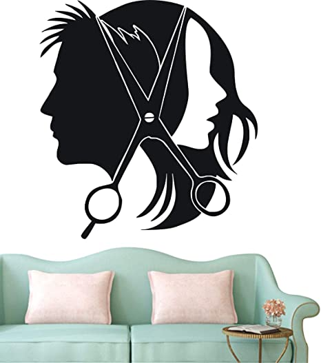 Hair Salon Barber Shop Wall Decal Art Vinyl Sticker Wall Or Window Decor Diy Hair Beauty Salon Wall Sticker Door Decal Ny 353 Black 57x65cm Kitchen Dining