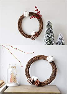 PanDaDa Christmas Wreath for Front Door Outside Natural Dried Rattan Ring Wreaths DIY Crafts Grapevine Wreath Wall Hanging Xmas Vintage Wreath