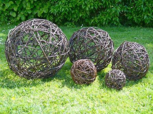 Weidenkugel 40 cm - Garten Deko Kugel aus Weide Natur Dekoration Weidenball Weidengeflecht - Handmade in EU -