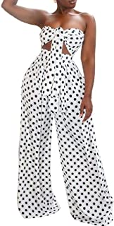 FSSE Women Sexy Strapless Crop Top & Wide Leg Pants Print Tie Outfit 2 Pcs