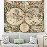 Mapa del mundo tapiz colgante de pared artista decoración del...