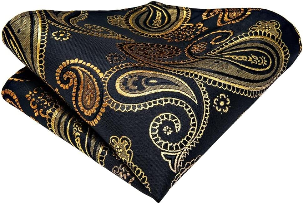 NJBYX Fashion Men's Bowtie Gold Black Silk Jacquard Woven Bowties for Men Butterfly Bowtie Cufflink