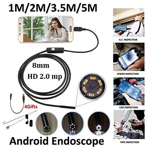 Preisvergleich Produktbild Hanbaili Endoskop,  3.5m 8mm Android OTG 2MP Endoskop Wasserdichte LED Inspektionsrohr Videokamera