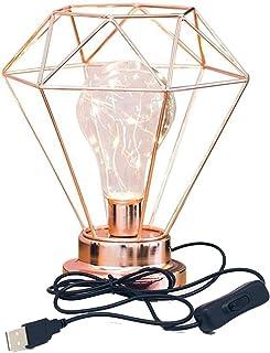 Lámpara de Mesilla de Noche con Forma de Diamante, Lámpara de Mesa de Alambre de Hierro de Estilo Nórdico Lámpara de Mesilla de Noche USB para Dormitorio (Oro Rosa)