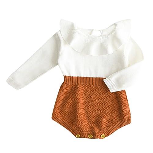 144f31295a7b Eiffel Direct Baby Girls Sweet Knitted Fleece Romper Long Sleeve Ruffle  Jumpsuit Sweater Dress