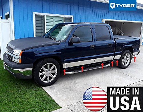 Made in USA! Compatible with 2001-2006 Chevy Silverado Crew Cab Short Bed W/O Fender Flare Rocker Panel Chrome Stainless Steel Body Side Moulding Molding Trim Cover 6' 12PC