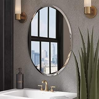 KOHROS Oval Beveled Polished Frameless Wall Mirror for Bathroom, Vanity, Bedroom (24