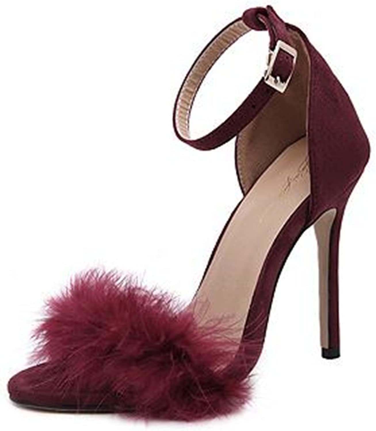 pink town Women's Ankle Strap Stiletto Party High Heel Dress Sandals
