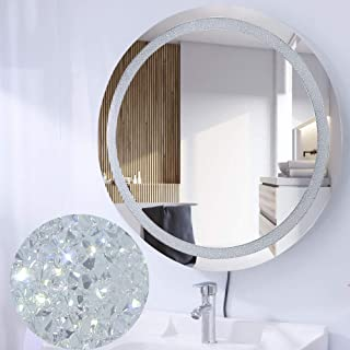 Chende 28 Inch Crystal Bathroom Vanity Mirror with Lights, Round Wall Mounted Lighted Mirror with a Plug, Unique Shining Starlight Effect with Bright Lights, 3 Different Light Temperatures Setting