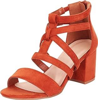 Women's Open Toe Strappy Cutout Chunky Block Heel Sandal