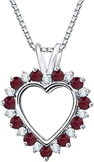 Alternating Diamond and Ruby Heart Pendant Necklace in Gold (3/4 cttw) (JK-Color, I1/I2-Clarity)
