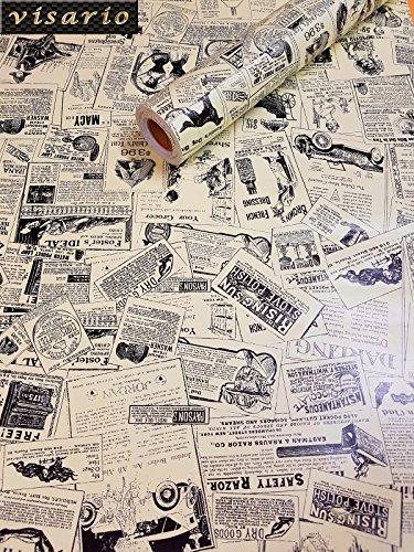 Visario Tapeten Folie 3000-S selbstklebend Zeitung Gazette Dekor 10 m x 45 cm Dekorfolie Möbelfolie Tapete 3029