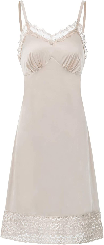 Lace Full Slips for Women Under Dresses Adjustable Spaghetti Strap Cami Dress