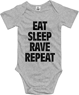 Klotr Unisex Baby Body Kurzarm Eat Sleep Rave Repeat Newborn Bodysuits Baumwolle Strampler Outfit Set