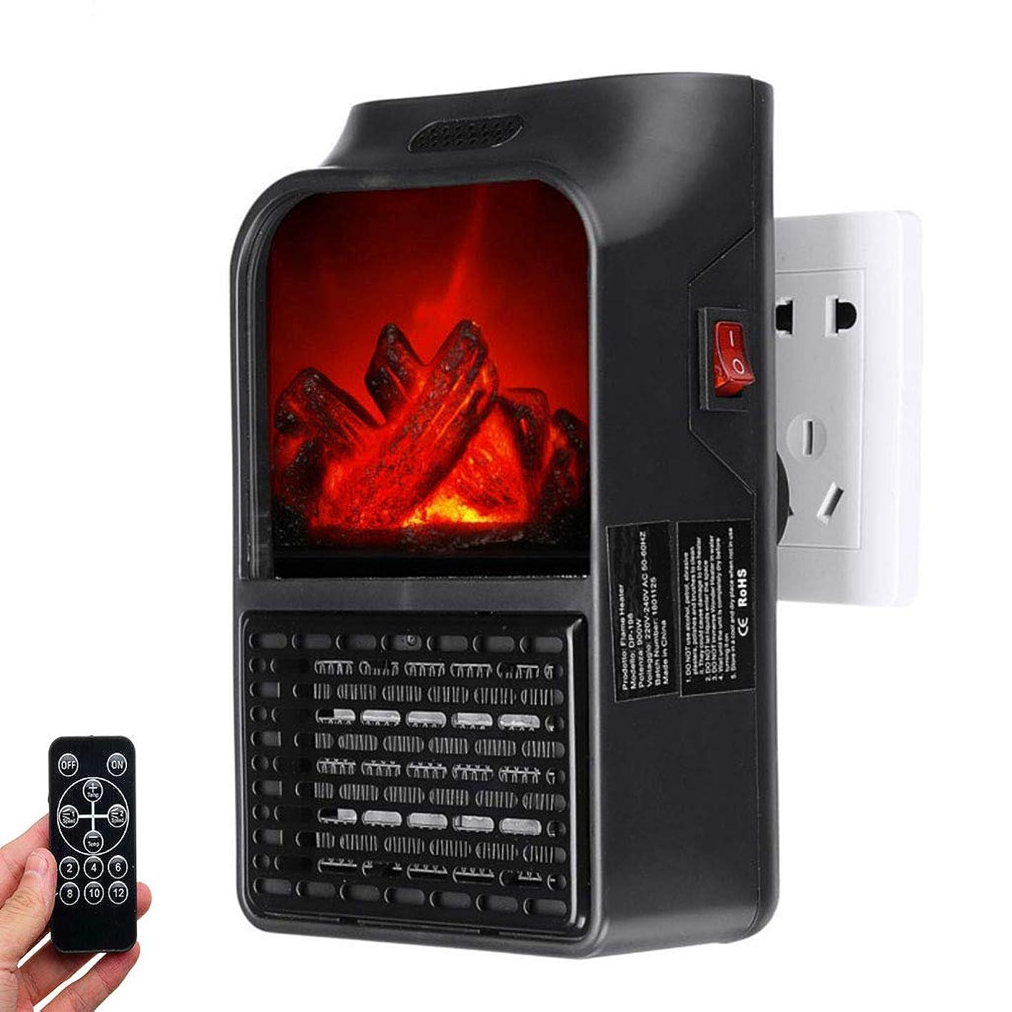 アシュリータファーマン興味懲戒ミニ電気ヒーターエアウォーマープラグインの暖房壁コンセント炎のストーブ900Wルームヒーター暖炉の炎エフェクトW /リモート