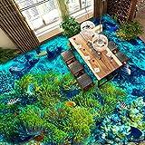 Papel pintado del piso para el acuario marino Decoración moderna de la habitación Paisaje del mar Mediterráneo Dolphin Coral Papel de pared personalizado para baño 200 cm (L) x140 cm (W)