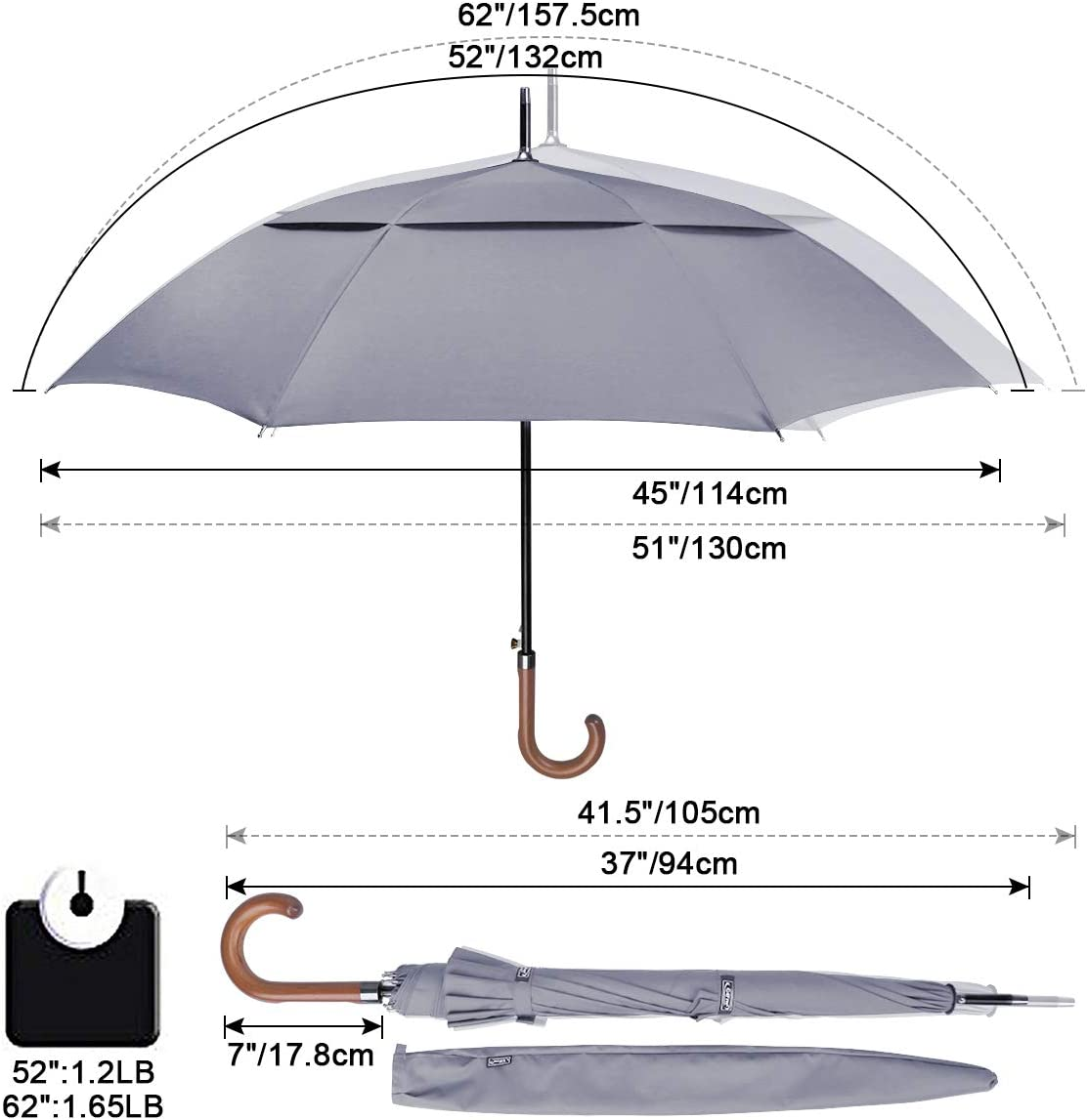 G4Free 52//62 Inch Automatic Open Classic Umbrella Double Canopy Vented Windproof Stick Umbrellas Large Umbrella with Wooden Crook Handle