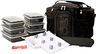 Meal Prep Bag ISOBAG 3 Meal Insulated Lunch Bag Cooler with 6 Stackable Meal Prep Containers, 2 Ice Pack ISOBRICKS, and Shoulder Strap - MADE IN USA (Blackout)
