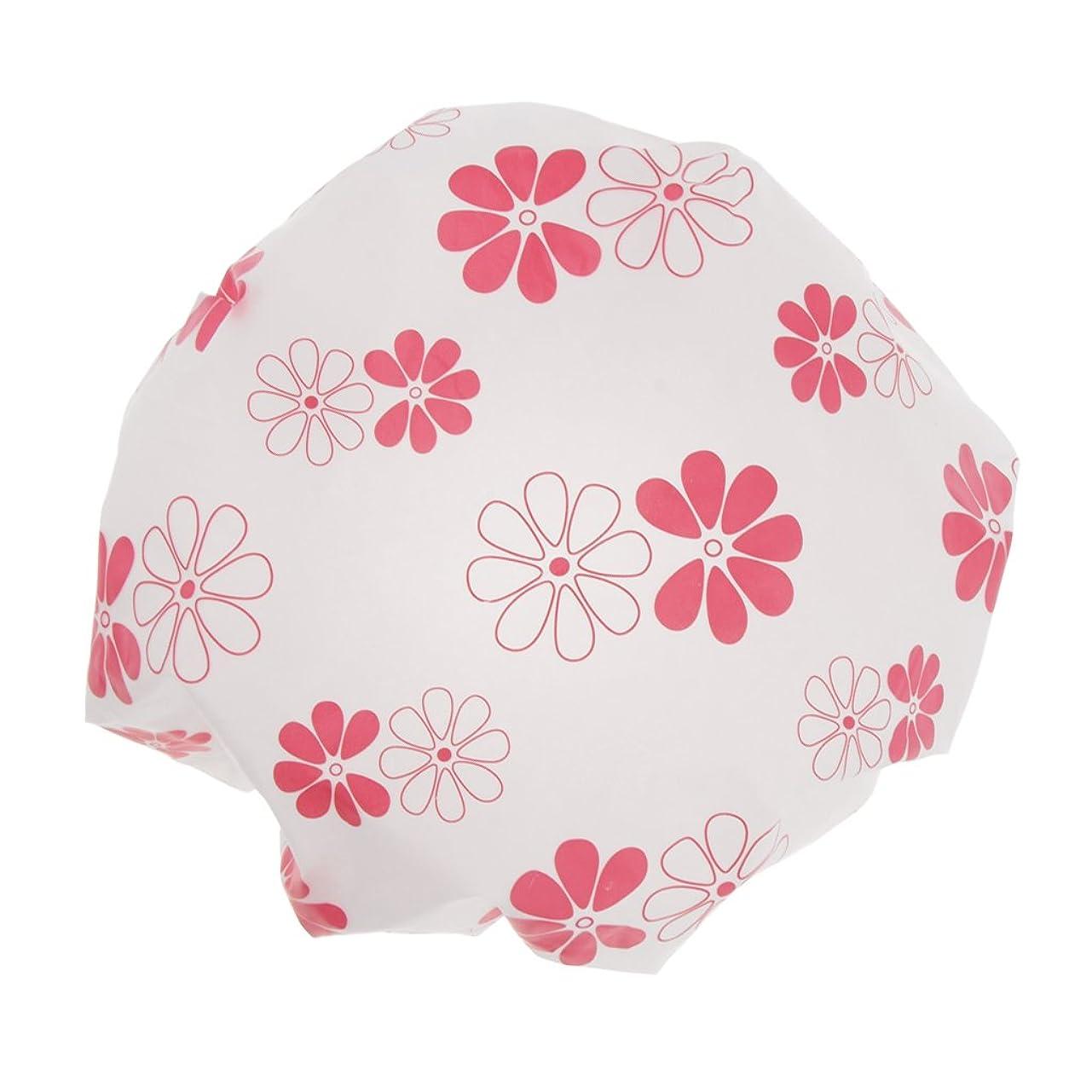 受ける昼間溶融全3色 シャワーキャップ 可愛い ヘアキャップ 防水帽 入浴キャップ 帽子 お風呂 シャワー 弾性 再使用可 - ピンク