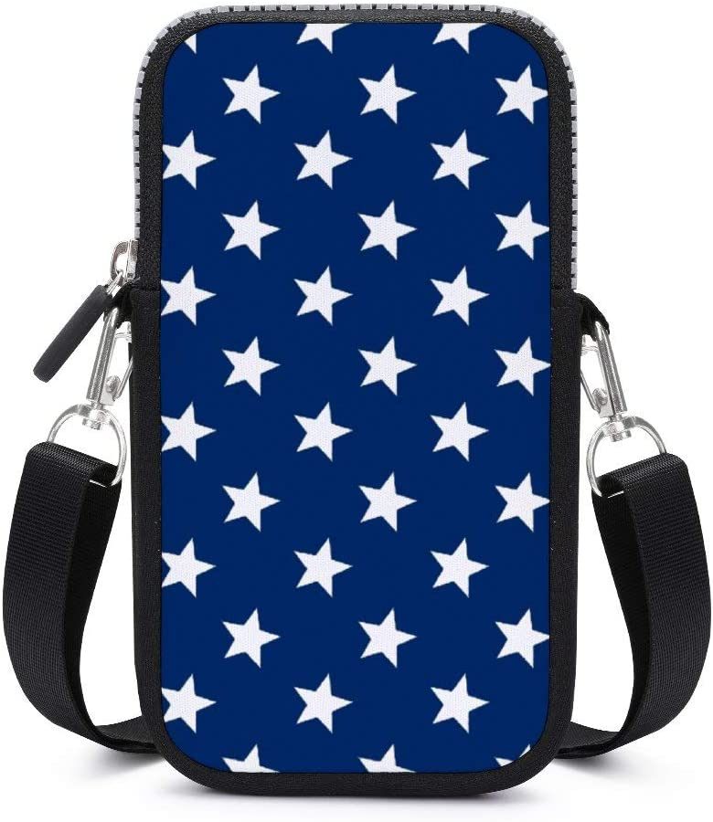 NiYoung Women Men Fashion Anti-Theft Small Crossbody Phone Bag Travel Wallet Purse Cellphone Shoulder Bag with Adjustable Shoulder Strap, USA Flag Star