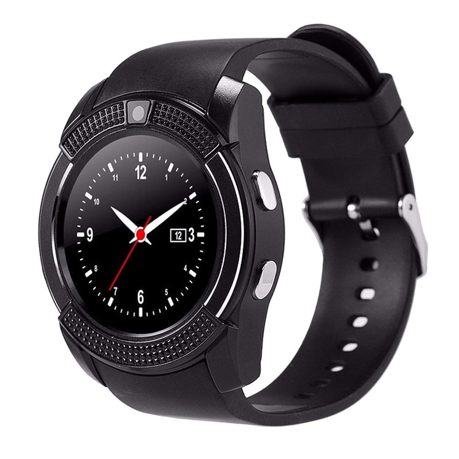 ZOMTOP V8 Sport Bluetooth Round Dial Wrist Smart Watch Camera SIM TF Slot for iOS Android Fashion(Black)