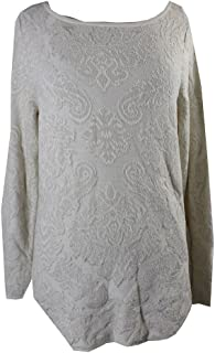 Charter Club Womens Metallic Knit Pullover Sweater (Large, Ivory)