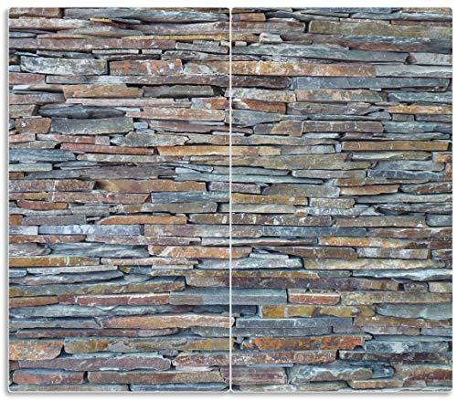 Herdabdeckplatte / Spritzschutz aus Glas, 2-teilig, 60x52cm, für Ceran- und Induktionsherde, Natursteinmauer in grau braun