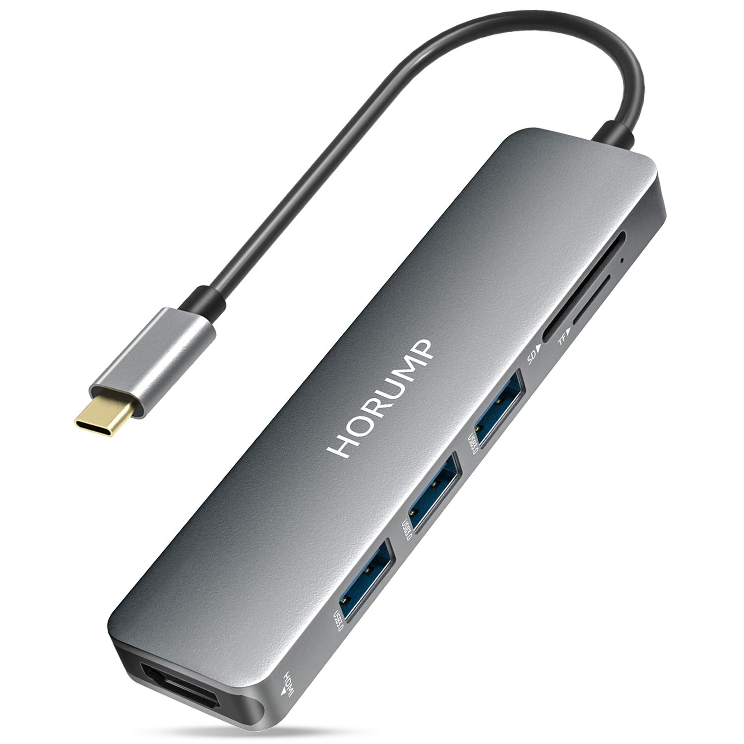 USB C Dongle Compatible with MacBook Air//Pro XPS and More Type C Devices HORUMP 7 in 1 USB C Adapter with 3 USB 3.0 Ports,4K USB C to HDMI USB C Hub SD//Micro SD Card Reader