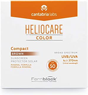 Heliocare Color Compacto SPF 50 - Fotoprotección Avanzada con Color, Filtros 100% Minerales de Alta Tolerancia, Formato Compacto, Todo Tipo de Piel, Brown, 10gr