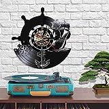 QIANGTOU Reloj de Pared Vintage Marinero brújula Naval Disco de Vinilo navegación a Vela diseño Moderno Barco mar decoración del hogar Reloj luz Led
