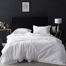 غطاء لحاف من الكتان الخالص بنسبة 100% مزين بالتطريز، مقاس كامل (198.06 سم × 218.36 سم)، 3 قطع من أغطية السرير المنزلية من ...