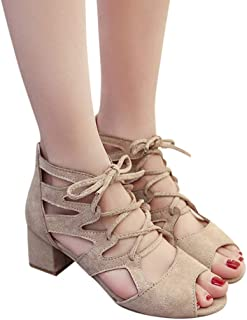 Amlaiworld Fashion Women Lace Up Sandals Ankle Square Heels Shoes Party Open Toe Shoes
