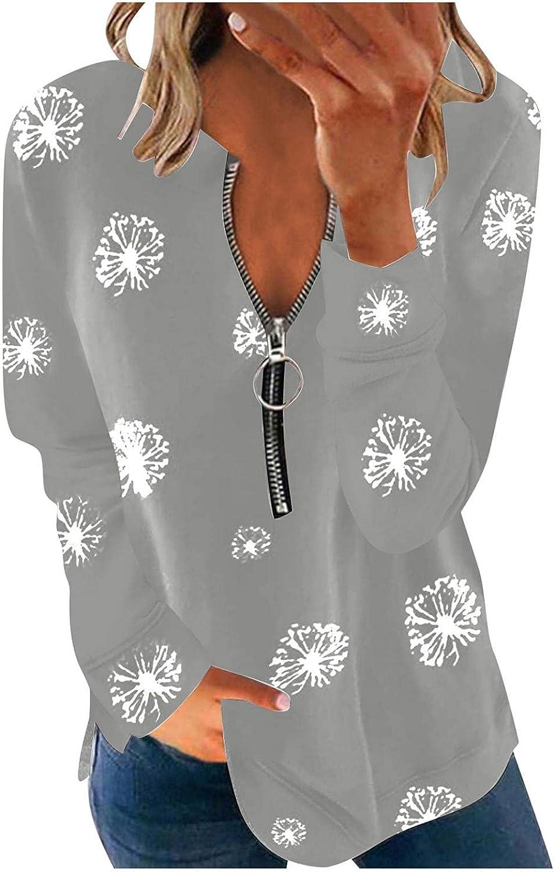 FABIURT Long Sleeve Tops for Women, Womens Fashion V Neck Solid Zipper Pullover Sweatshirt Casual Loose Tee Shirt Blouse