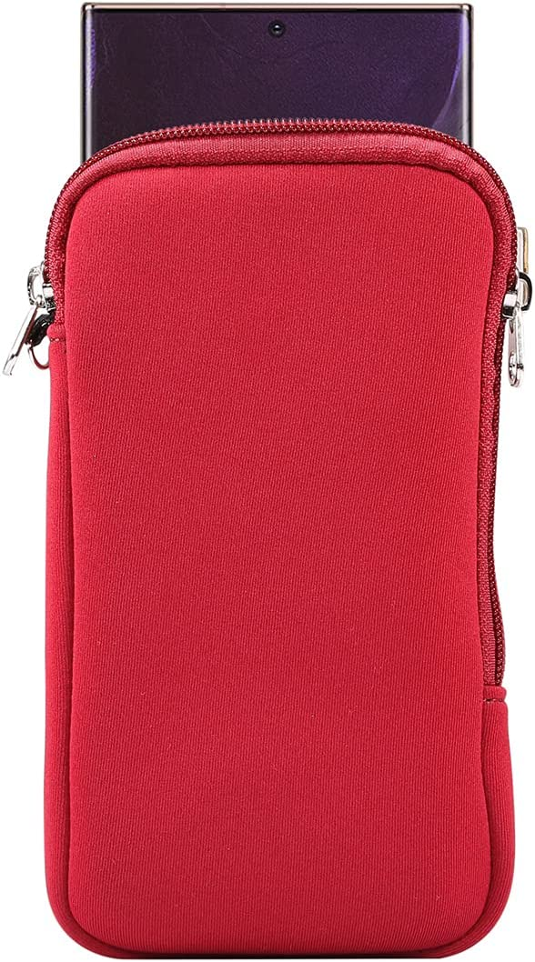 Neoprene Phone Sleeve Pouch w/Neck Lanyard Wallet for Men Women Carrying Case for Galaxy S21 Ultra S20 FE S21+ S20+ A70 A72 A42 A32 5G A21s, Moto G Power G Stylus G Fast G8 Power Lite(Red, X-Large)