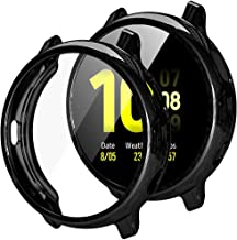 【2 Pack】 Hard Screen Protector with Samsung Watch Active 2 Case 40mm - Full Around Soft TPU Plated Bumper Case Cover for G...