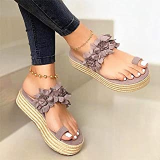 Summer Wedge Slippers,Womens Toe Loop Sandals Bunion Correction Big Toe Bone Orthopedic with Arch Support for Pain Relief Bunion Symptoms