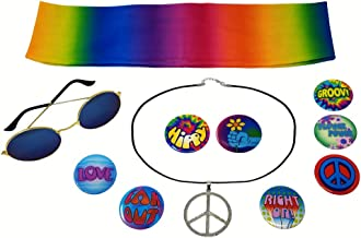 NorNovelties Hippie Costume Accessories - Peace Sign Necklace 8 Buttons Glasses Tie Dye Headband