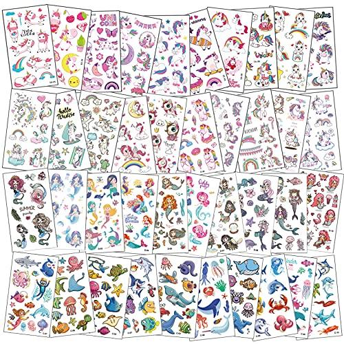 Tattoo Kinder,40 Blätter Temporäre Tattoos Set mit Einhorn Meerjungfrau und Marine Thema,Tattoo Kinder Mädchen,Wasserdichte Kindertattoos,Kinder Aufkleber Set für Kinder Mitgebsel Kindergeburtstag