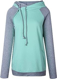 Women's Hoodie Patchwork Oblique Zipper Neck Long Sleeve Hooded Sweatshirt Pullover Tops