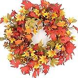 idyllic 20 Inches Wreath of Fall Foliage Maple Leaf, Artificial Wreath for Indoor Decor
